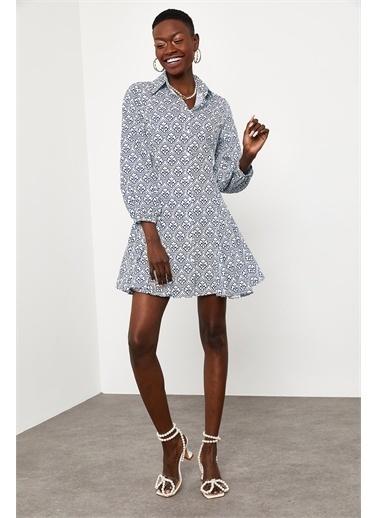 XHAN Mavi Etnik Desen Gömlek Elbise 1Kxk6-44827-12 Mavi